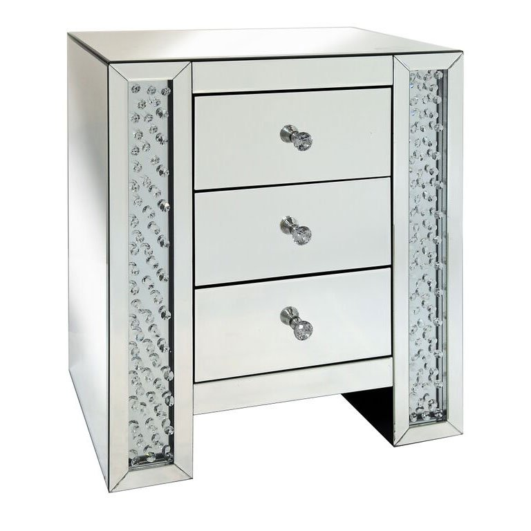 Rhombus Crystal Mirrored 3 Drawer Bedside Table
