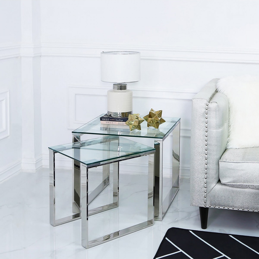 Harley Glass & Silver Trim Twin Nest of Tables