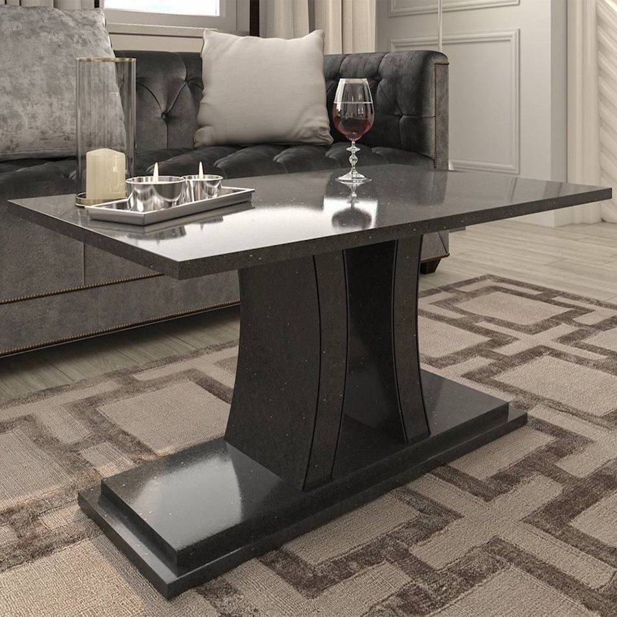 Verona Ammonite Diamond Black Quartz Coffee Table