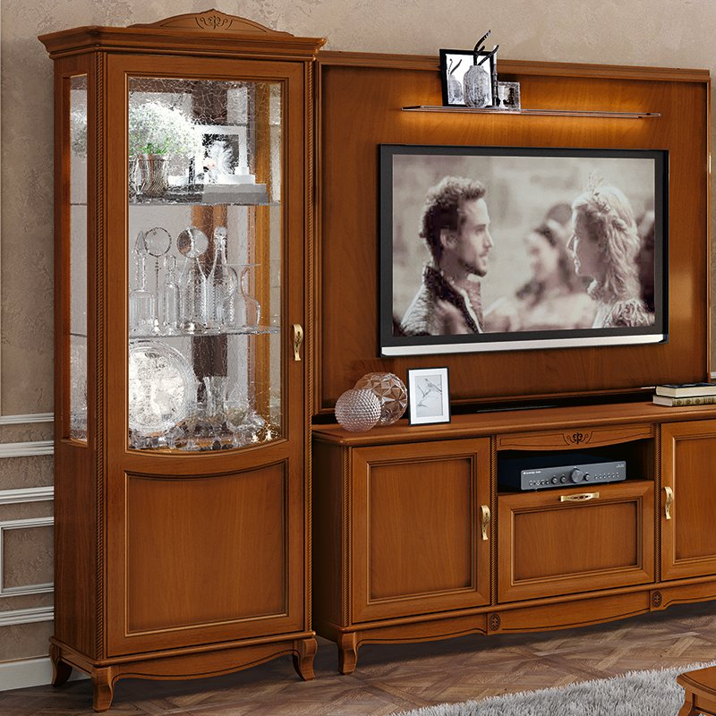 Fabrina Walnut 1 Door Display Cabinet