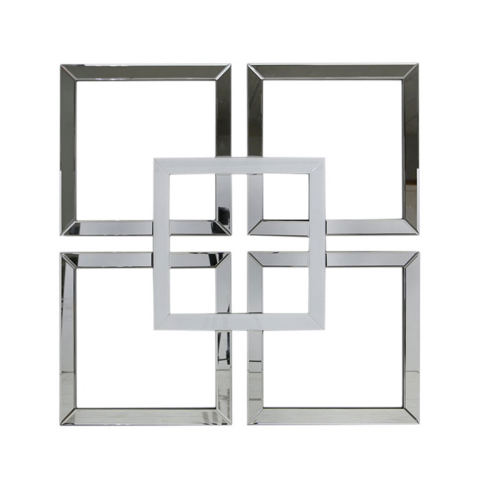 Merrick White Glass & Mirrored Wall Art