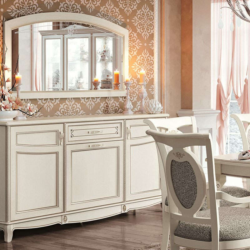 Fabrina Ivory Ash 3 Drawer 3 Door Sideboard