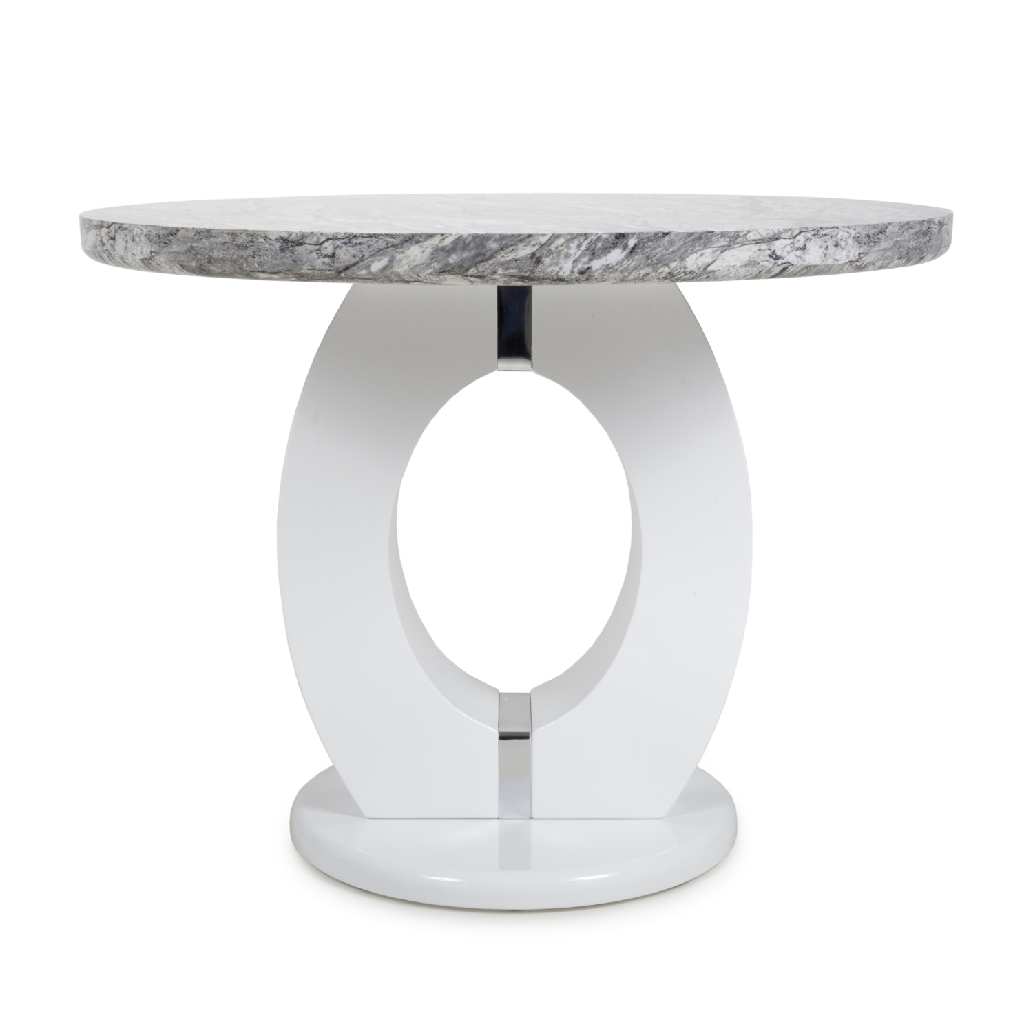 Nepal Grey Marble & White High Gloss 1m Round Dining Table