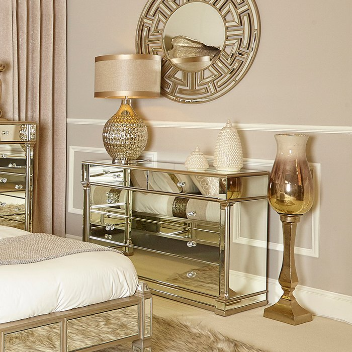Andreas Champagne Gold Trim Mirrored 5 Drawer Chest