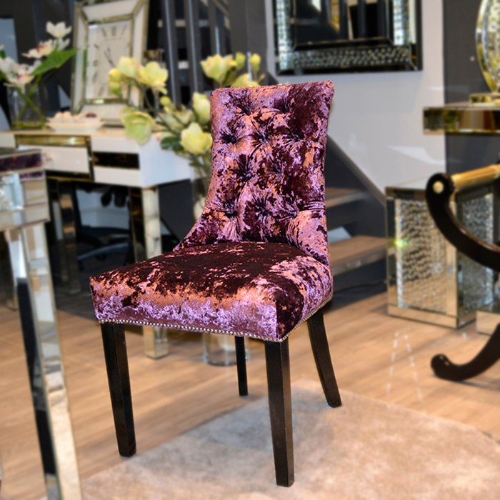 Bespoke Verges Buttoned Velvet Studded Feature Dining Chair