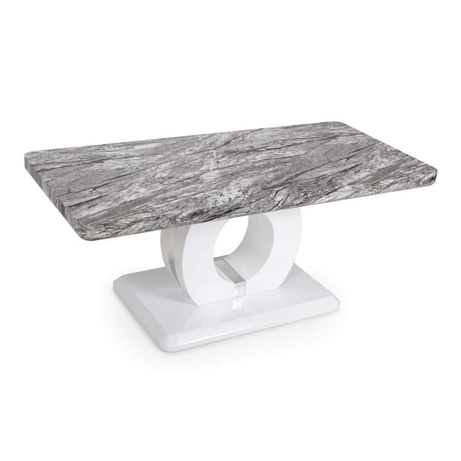 Nepal Grey Marble & White High Gloss 1.1m Coffee Table