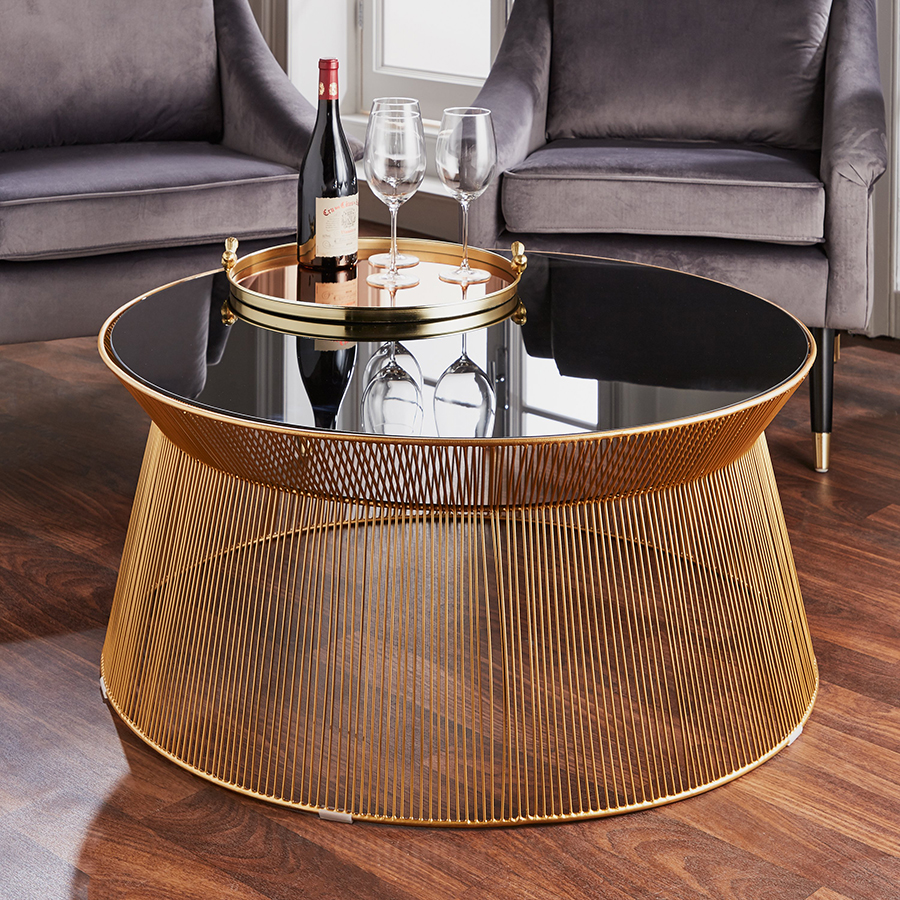 Curve Gold & Black Glass Round Coffee Table