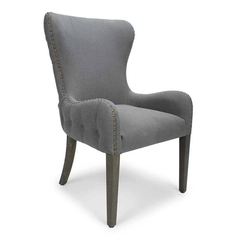Marsden Antique Grey Linen Buttoned Wing Back Feature Chair