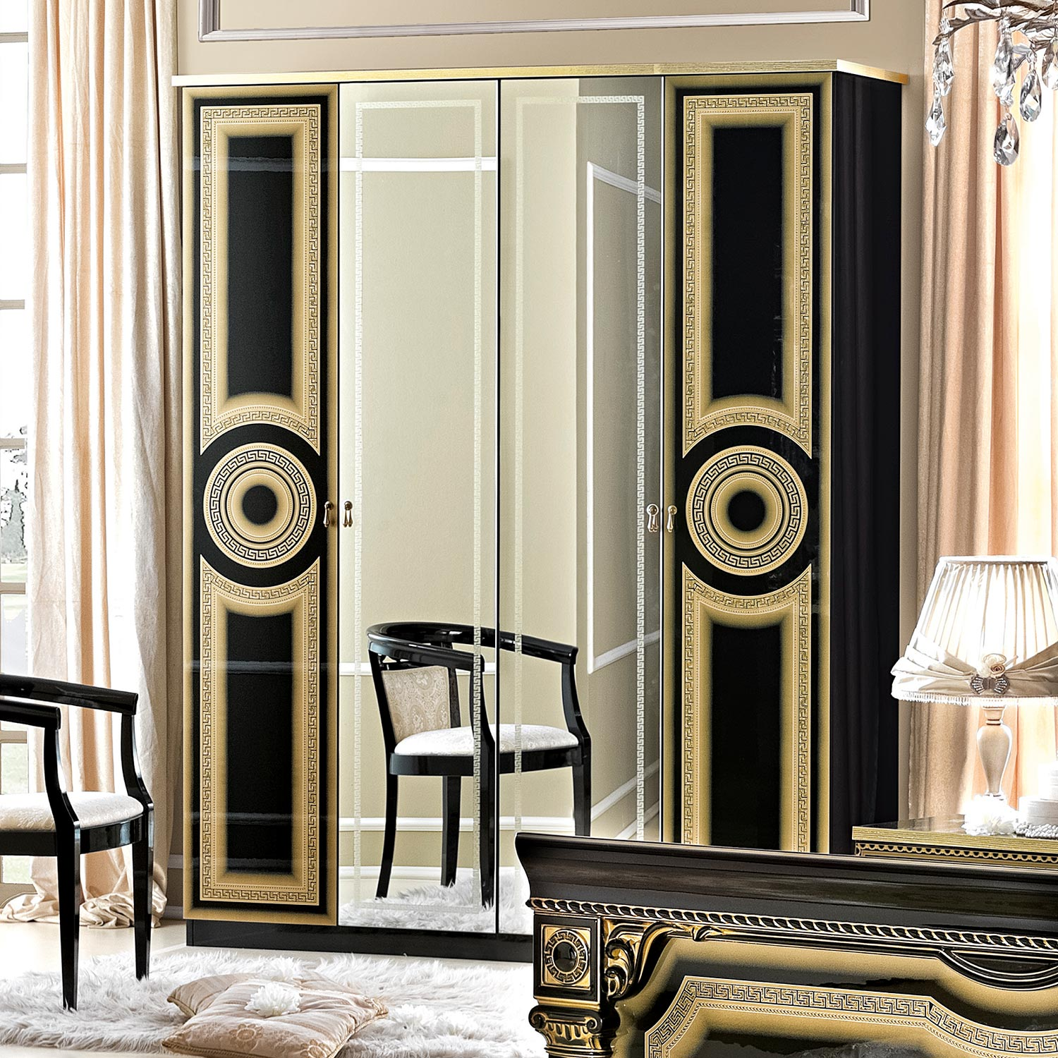 Italian MEDUSA Black High Gloss & Gold or Silver 4dr Mirrored Wardrobe