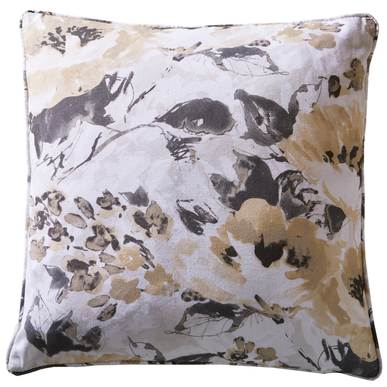 Casey Ochre Floral Square Cushion