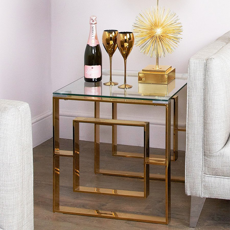 Apex Gold Metal & Glass Lamp Table