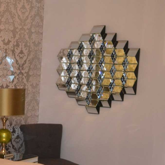 Prestige Honeycombe Medium Abstract Modern Mirror 87x87cm