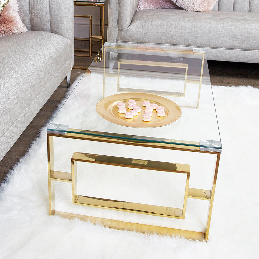 Apex Gold Metal & Glass 1.2m Coffee Table