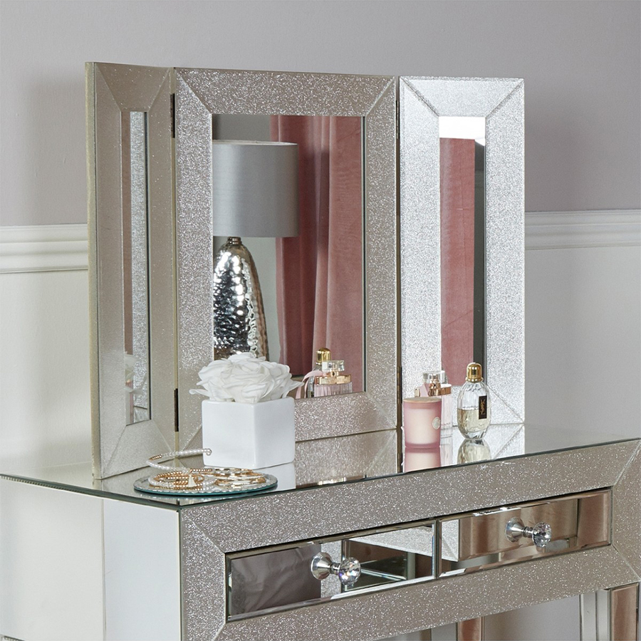 Amy Mirrored Champagne Sparkle Triple Vanity Mirror