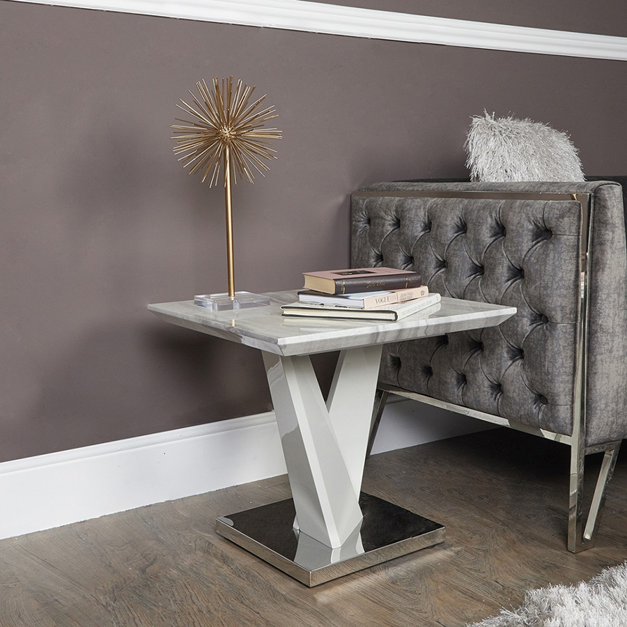 Alabra Marble & Stainless Steel Lamp Table