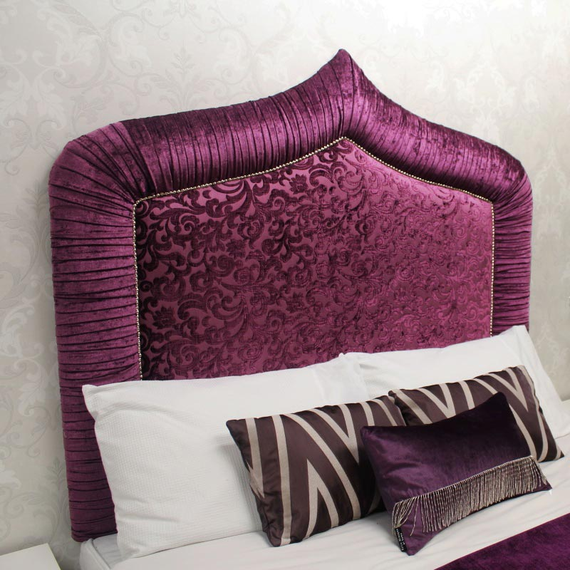 Bespoke Zara Crushed Velvet & Snakeskin Leather Headboard