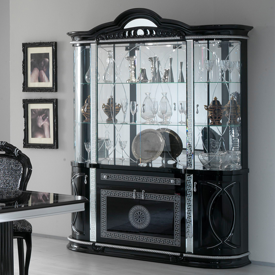 Vittorio Black & Silver High Gloss 4 Door Display Cabinet