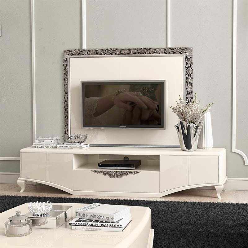 Monaco High Gloss or Wood Veneer Silver/Gold Ornate TV Wall Mount Plate