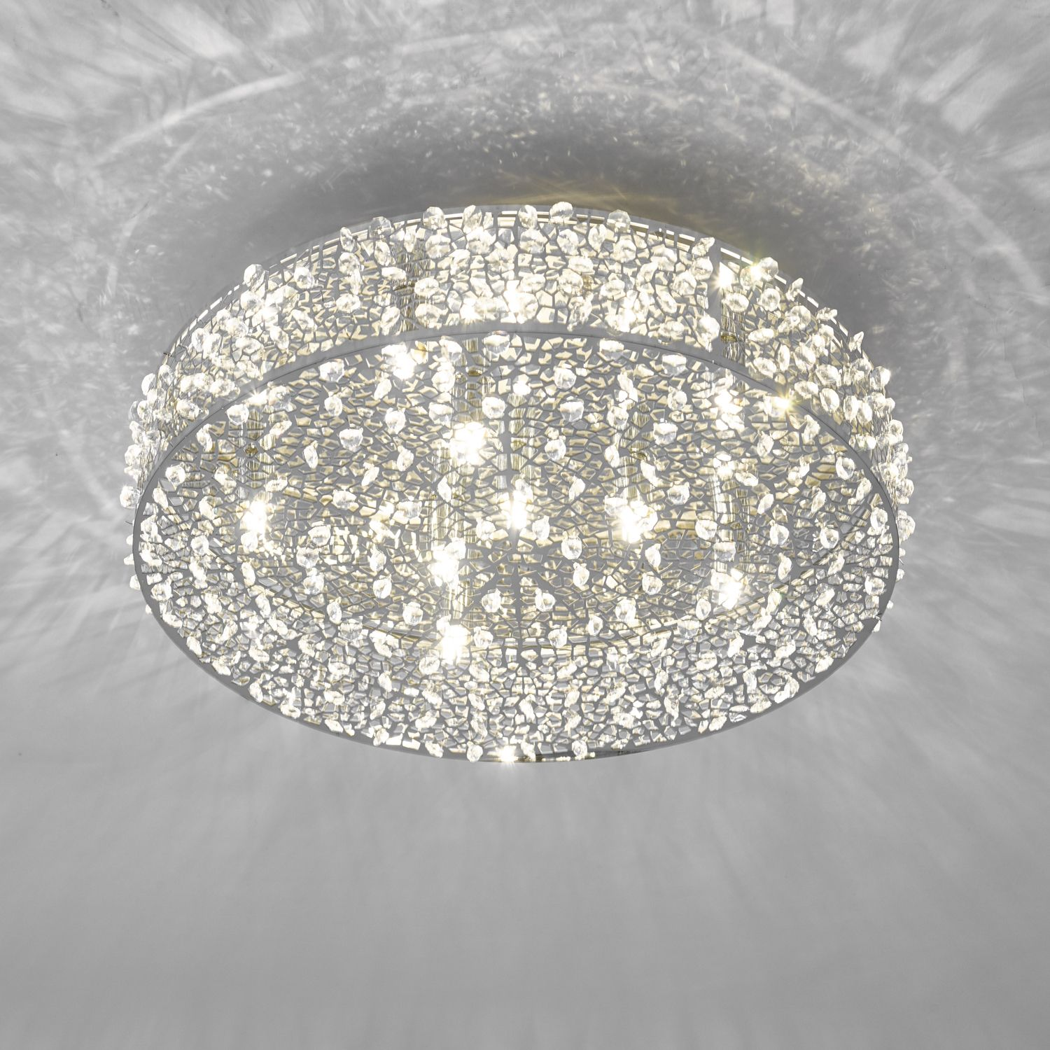 Kotaro 6 Bulb Polished Chrome & Crystal Flush Ceiling Light
