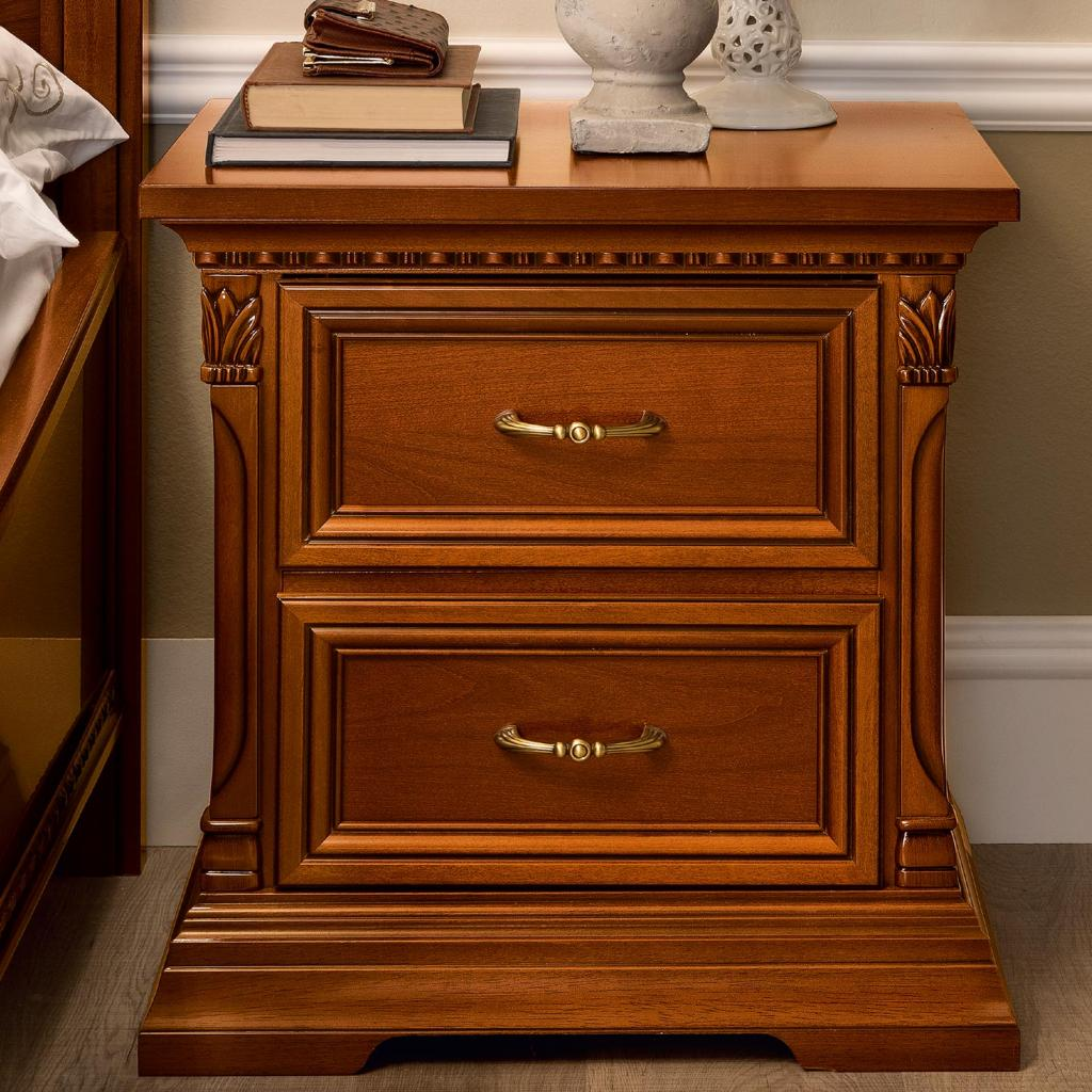 Treviso Ornate Cherry Wood 2 Drawer Bedside Table