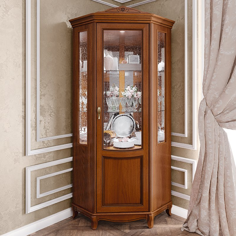 Fabrina Walnut 1 Door Corner Display Cabinet