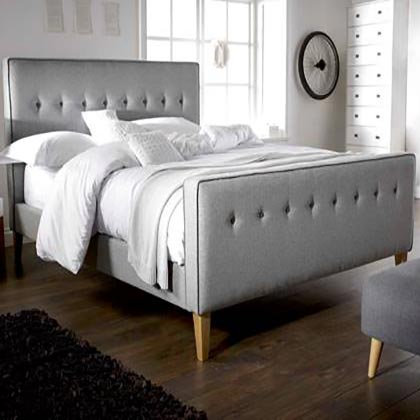 Eva Buttoned Piped Low End Bed