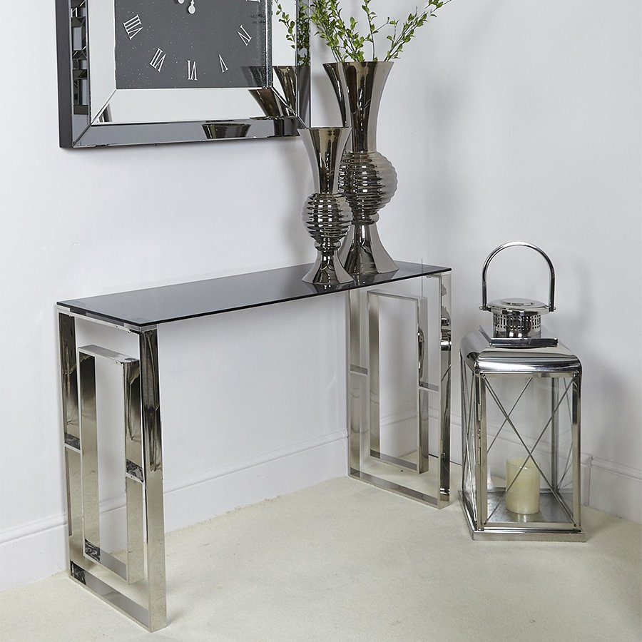 Apex Stainless Steel & Smoked Glass Console Table