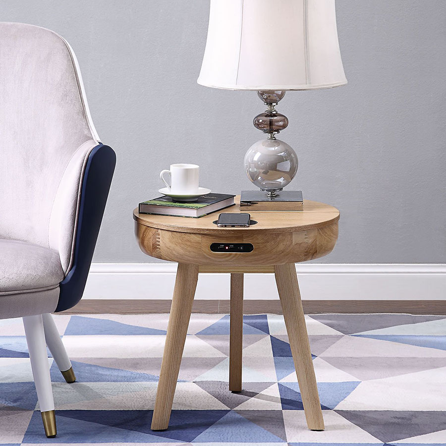 San Francisco Ash Wood Smart Lamp Table With SPEAKERS & Wireless Charger