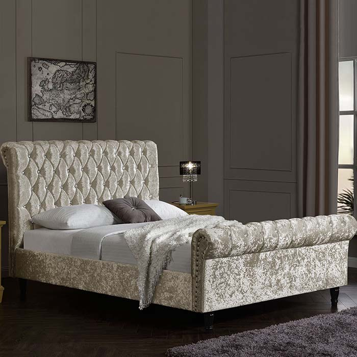 Oyster Crushed Velvet Diamante Chesterfield Bed