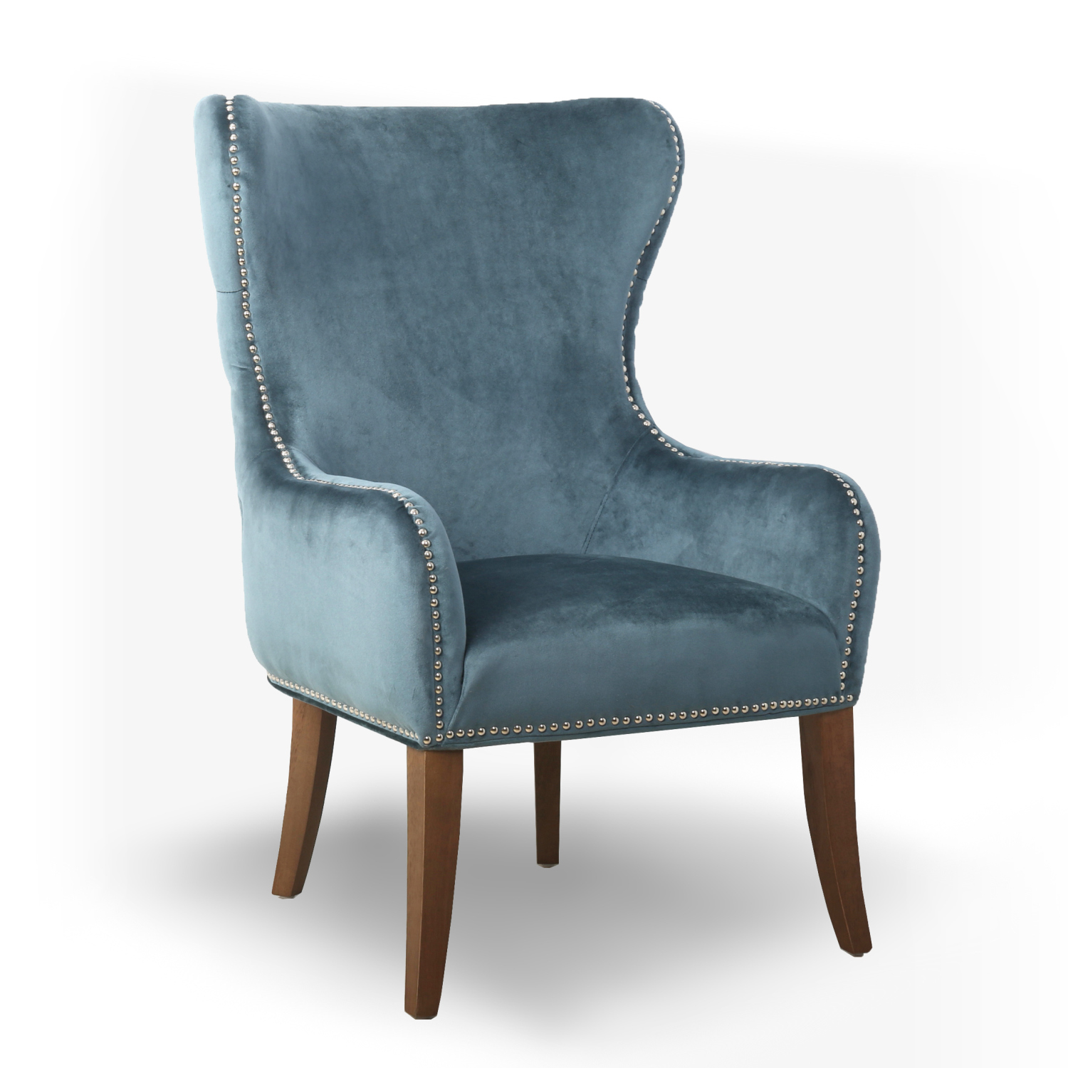 Macy Colonial Blue Button Back Studded Winged Armchair