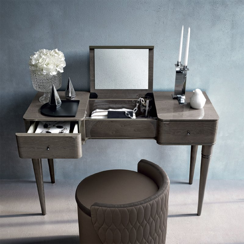 Malliana Silver Birch High Gloss 2 Drawer Dressing Table (with flip up mirror)