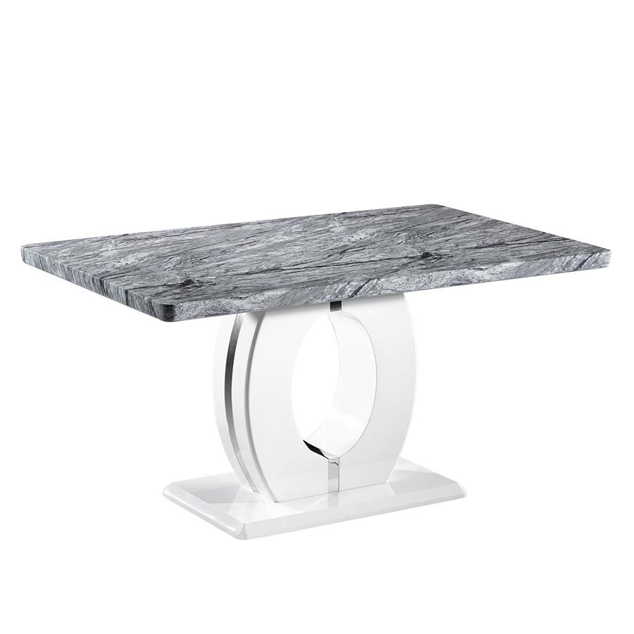 Nepal Grey Marble & White High Gloss 1.5m Rectangular Dining Table