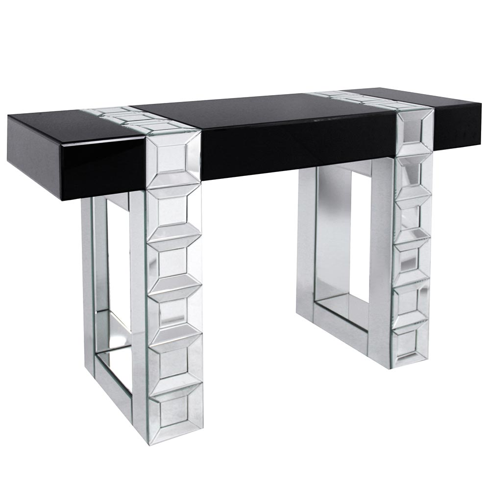 Black High Gloss & Mirrored Console Table