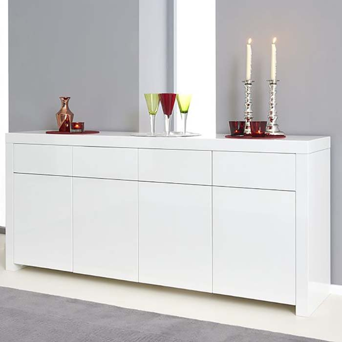 Hereford White High Gloss 4 Door 4 Drawer Sideboard