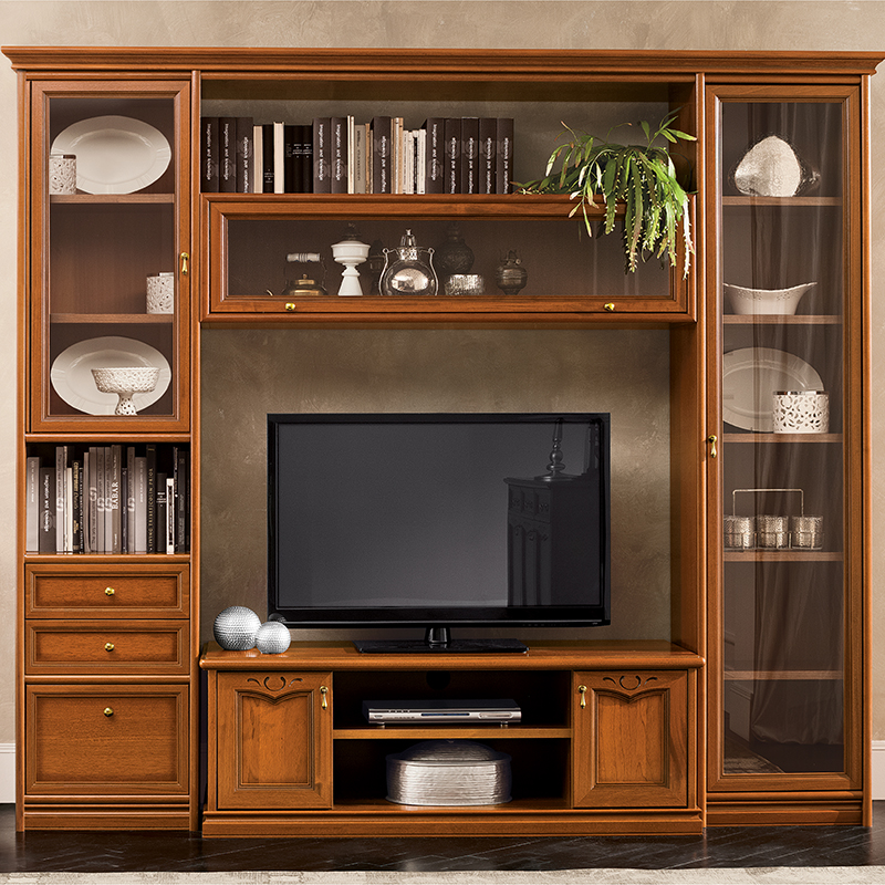 Natalia Walnut Shelving & TV Unit Composition 12