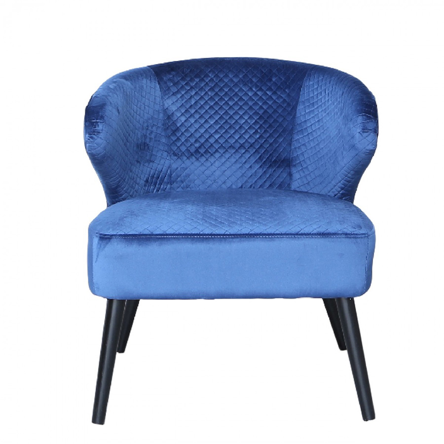 Oden Blue Quilted Velvet Wingback Feature Chair
