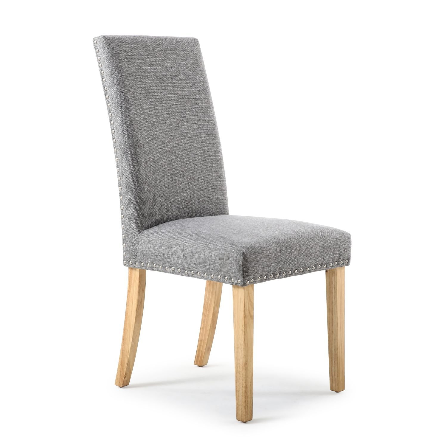 Reed Silver Grey Linen Studded Dining Chair (Natural Legs)