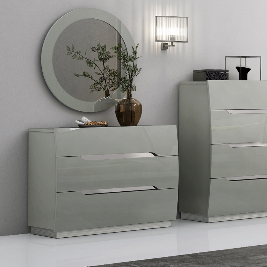 Lily High Gloss Grey Chest of Drawers