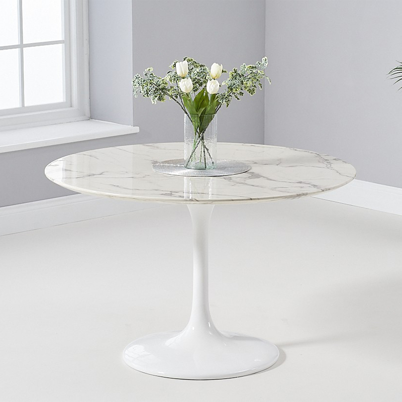 Brittney 1.2m Round White Marble Dining Table